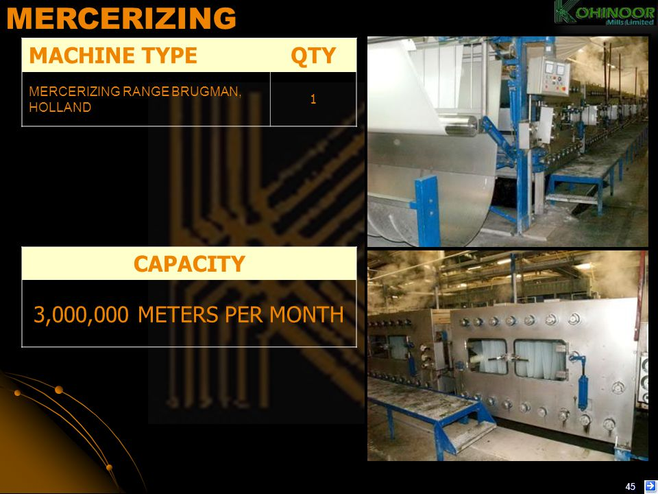 MERCERIZING MACHINE TYPE QTY CAPACITY 3,000,000 METERS PER MONTH