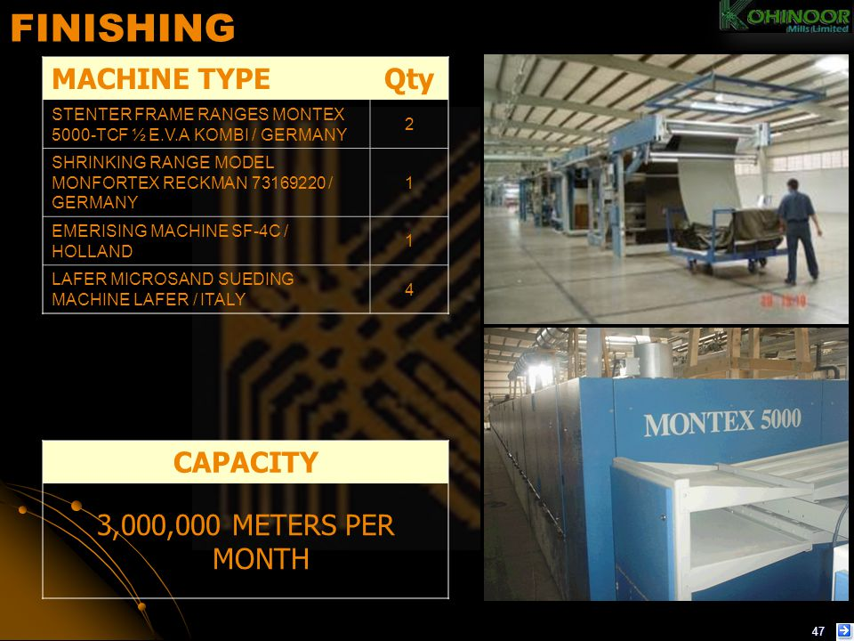 FINISHING MACHINE TYPE Qty CAPACITY 3,000,000 METERS PER MONTH