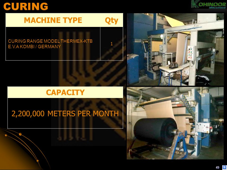 CURING MACHINE TYPE Qty CAPACITY 2,200,000 METERS PER MONTH