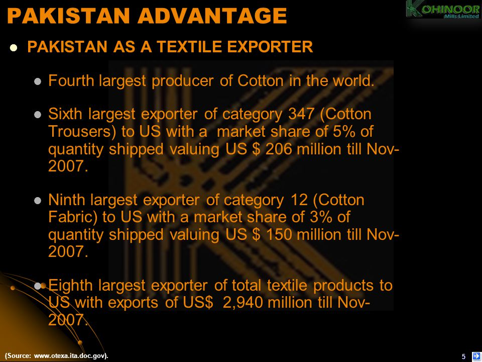 PAKISTAN ADVANTAGE PAKISTAN AS A TEXTILE EXPORTER