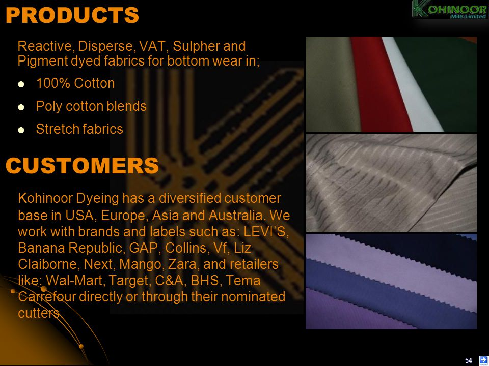 PRODUCTS Reactive, Disperse, VAT, Sulpher and Pigment dyed fabrics for bottom wear in; 100% Cotton.