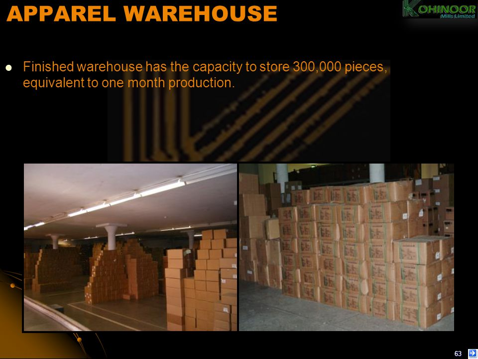 APPAREL WAREHOUSE Finished warehouse has the capacity to store 300,000 pieces, equivalent to one month production.