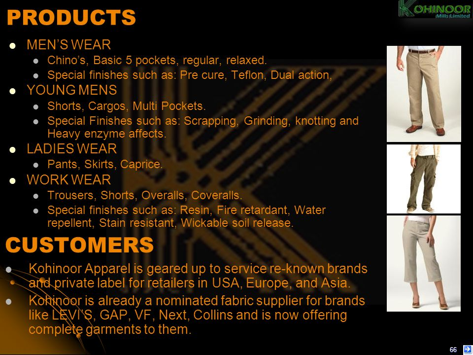 PRODUCTS CUSTOMERS MEN'S WEAR YOUNG MENS LADIES WEAR WORK WEAR
