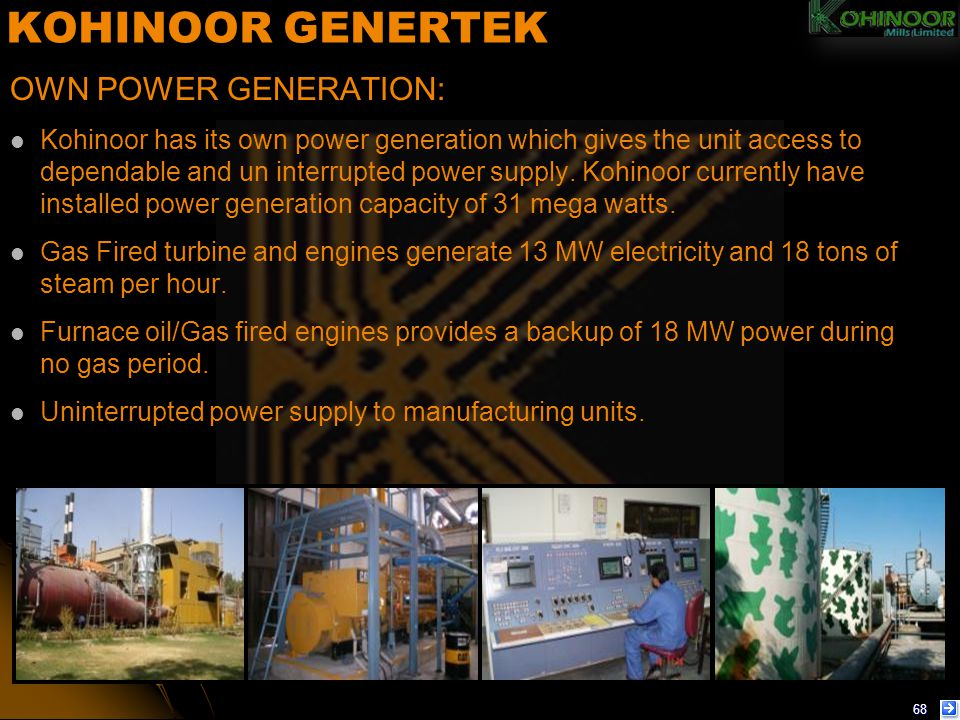 KOHINOOR GENERTEK OWN POWER GENERATION: