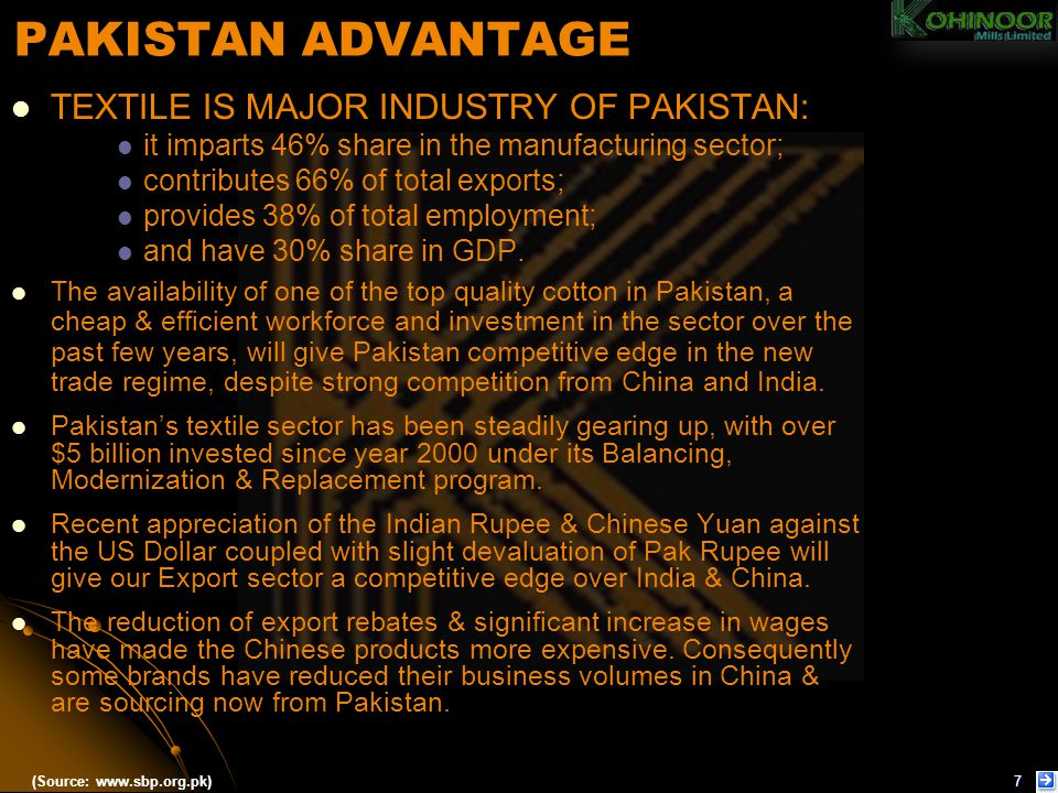 PAKISTAN ADVANTAGE TEXTILE IS MAJOR INDUSTRY OF PAKISTAN: