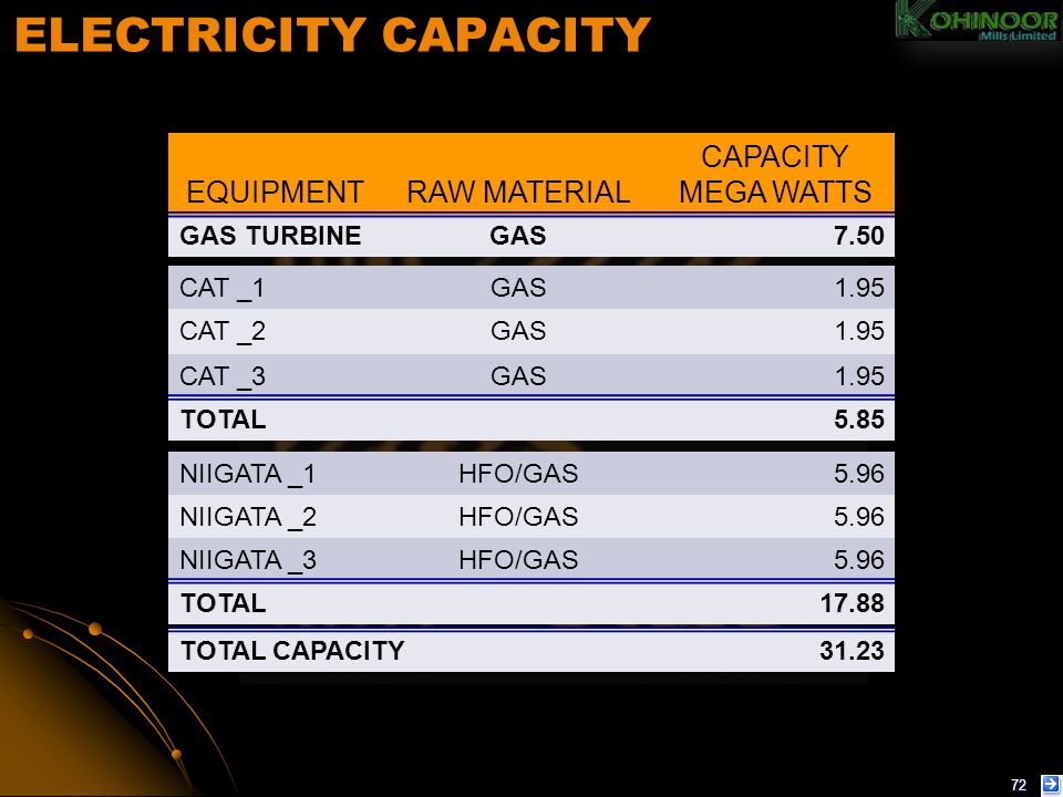 ELECTRICITY CAPACITY EQUIPMENT RAW MATERIAL CAPACITY MEGA WATTS