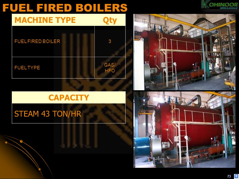 FUEL FIRED BOILERS MACHINE TYPE Qty CAPACITY STEAM 43 TON/HR