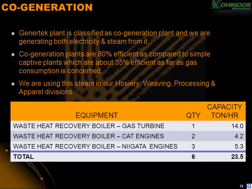 CO-GENERATION Genertek plant is classified as co-generation plant and we are generating both electricity & steam from it.