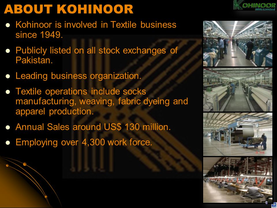 ABOUT KOHINOOR Kohinoor is involved in Textile business since 1949.