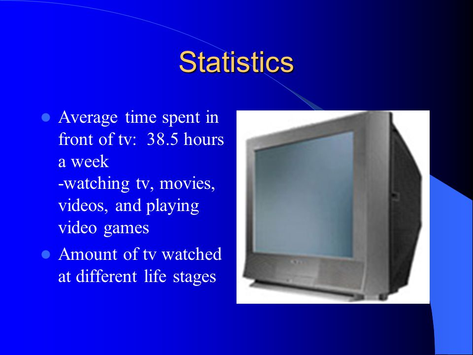 Statistics Average time spent in front of tv: 38.5 hours a week -watching tv, movies, videos, and playing video games.