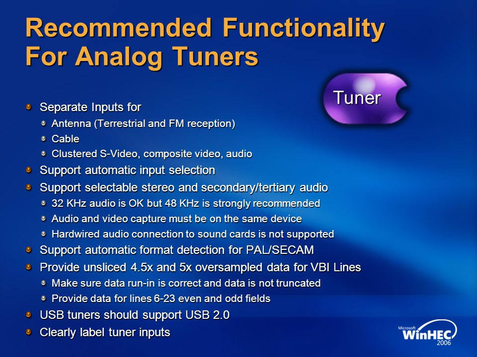 Recommended Functionality For Analog Tuners
