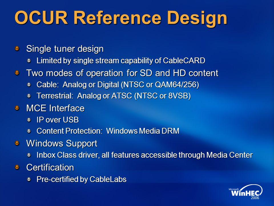 OCUR Reference Design Single tuner design