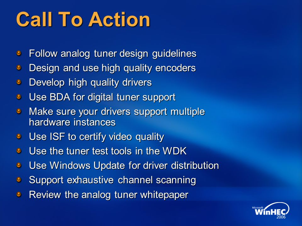 Call To Action Follow analog tuner design guidelines