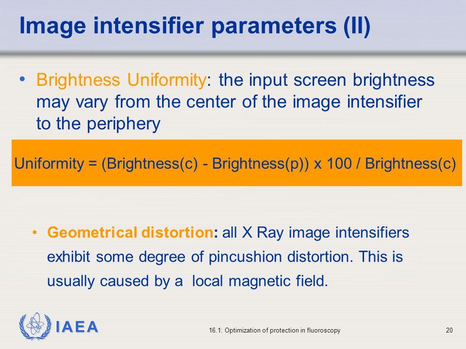 Image intensifier parameters (II)