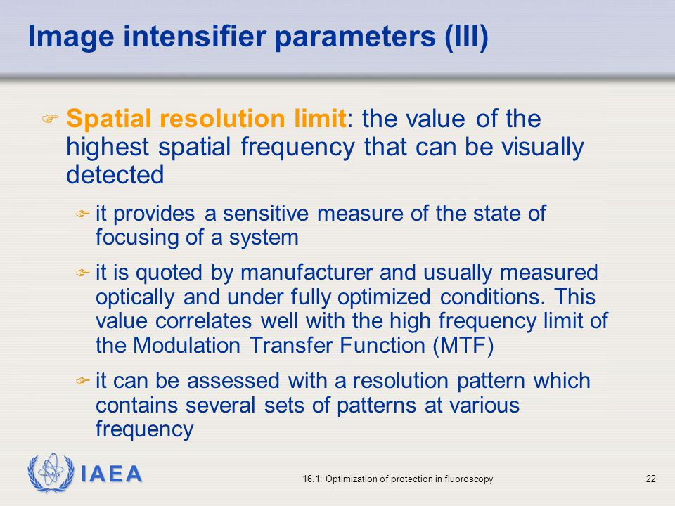 Image intensifier parameters (III)