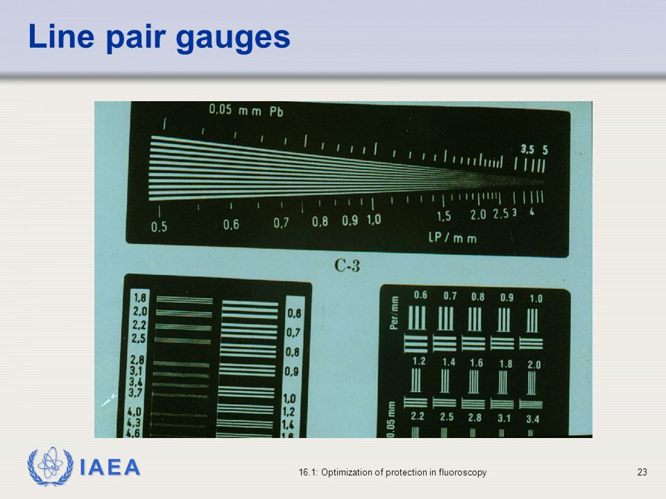 Line pair gauges 16.1: Optimization of protection in fluoroscopy