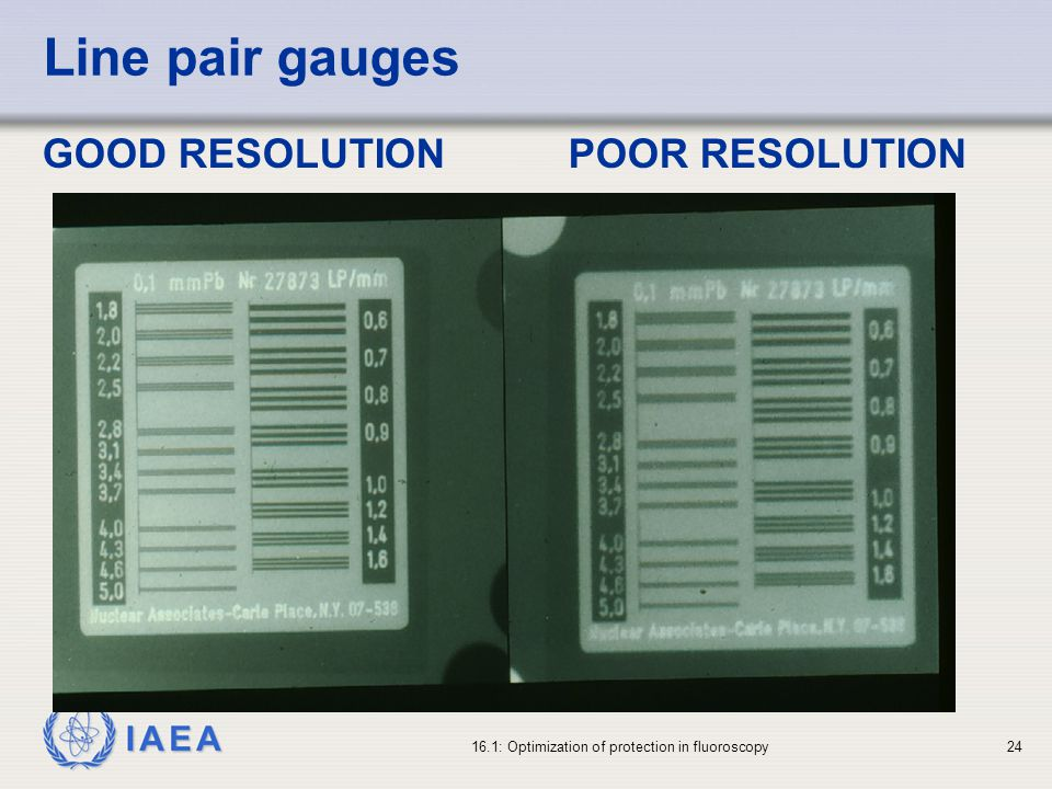 Line pair gauges GOOD RESOLUTION POOR RESOLUTION