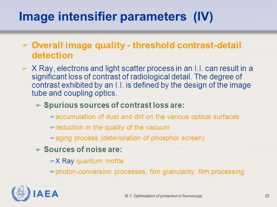 Image intensifier parameters (IV)