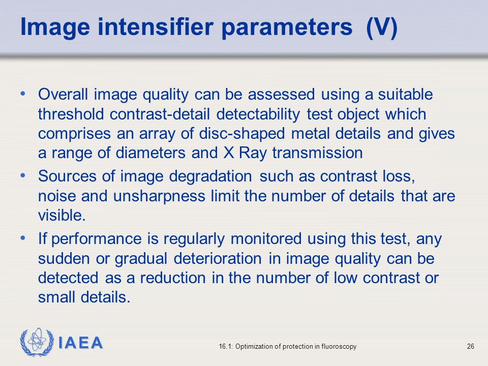 Image intensifier parameters (V)