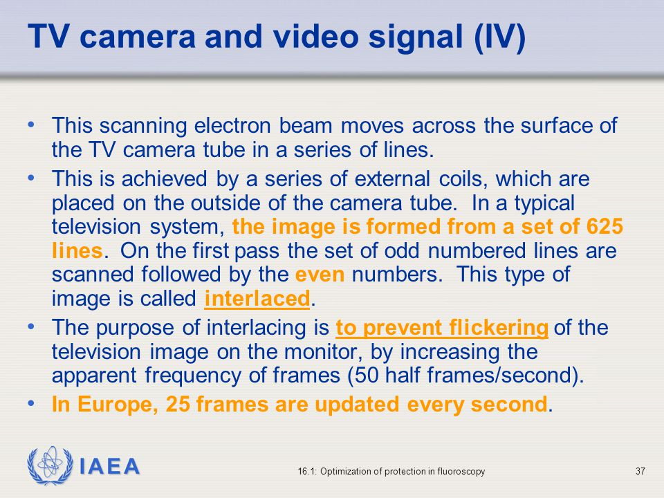 TV camera and video signal (IV)