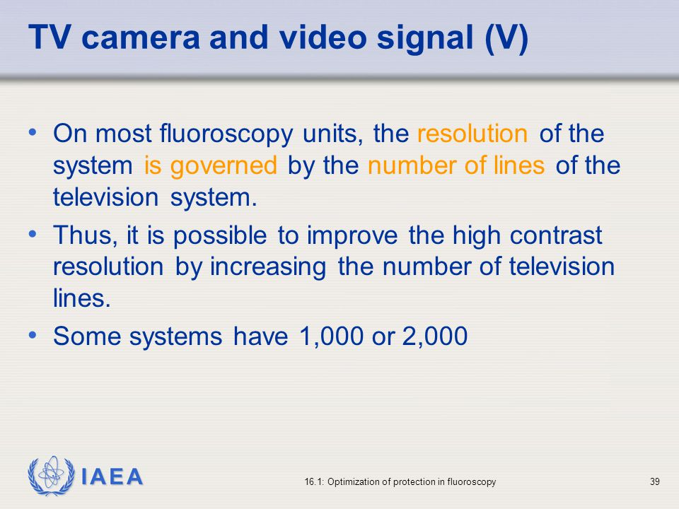 TV camera and video signal (V)