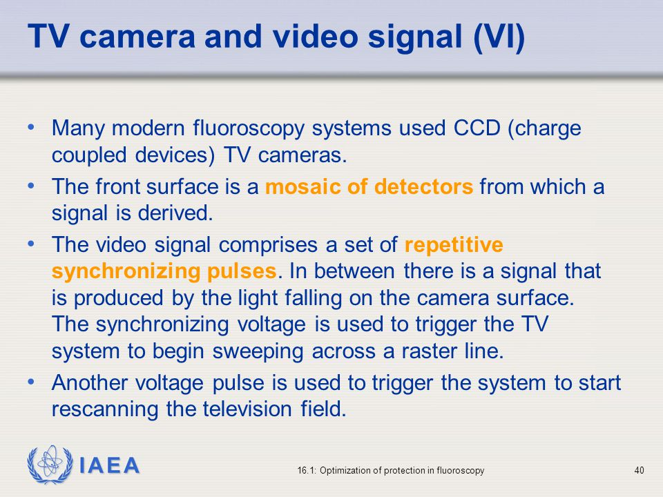 TV camera and video signal (VI)