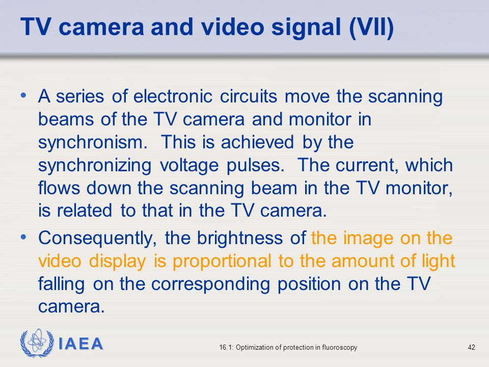TV camera and video signal (VII)