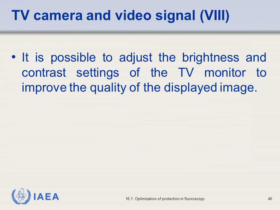 TV camera and video signal (VIII)