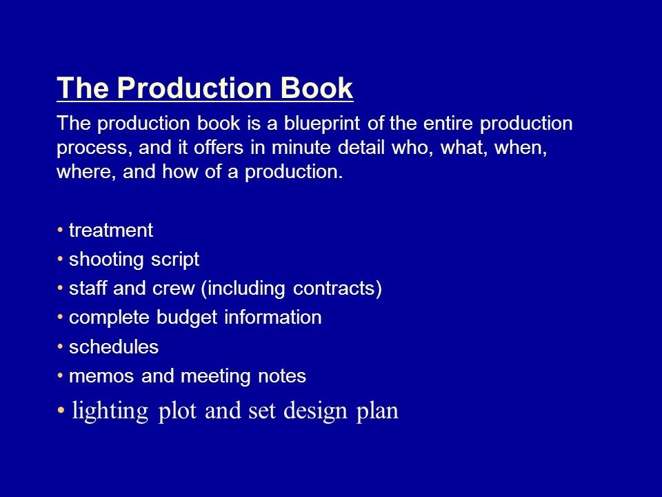 The Production Book lighting plot and set design plan