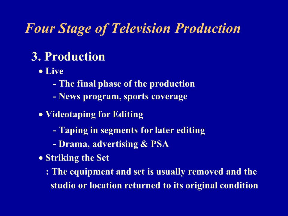 Four Stage of Television Production