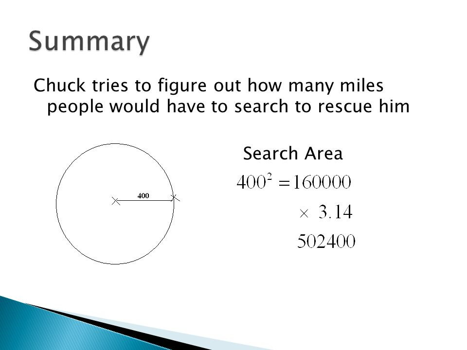 Summary Chuck tries to figure out how many miles people would have to search to rescue him Search Area