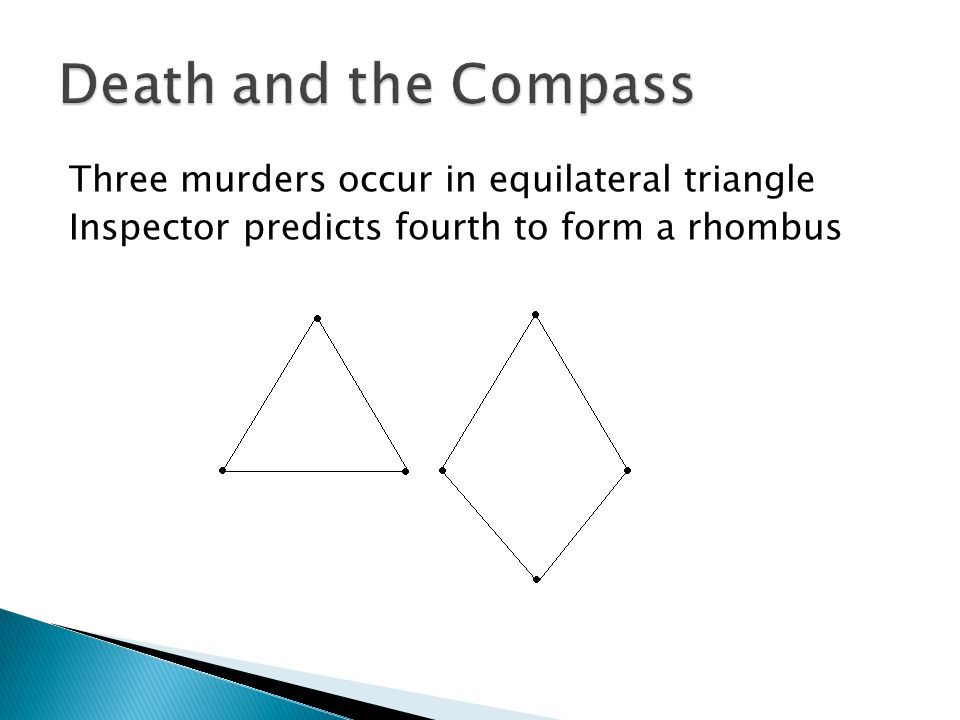 Death and the Compass Three murders occur in equilateral triangle Inspector predicts fourth to form a rhombus