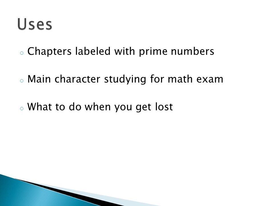 Uses Chapters labeled with prime numbers