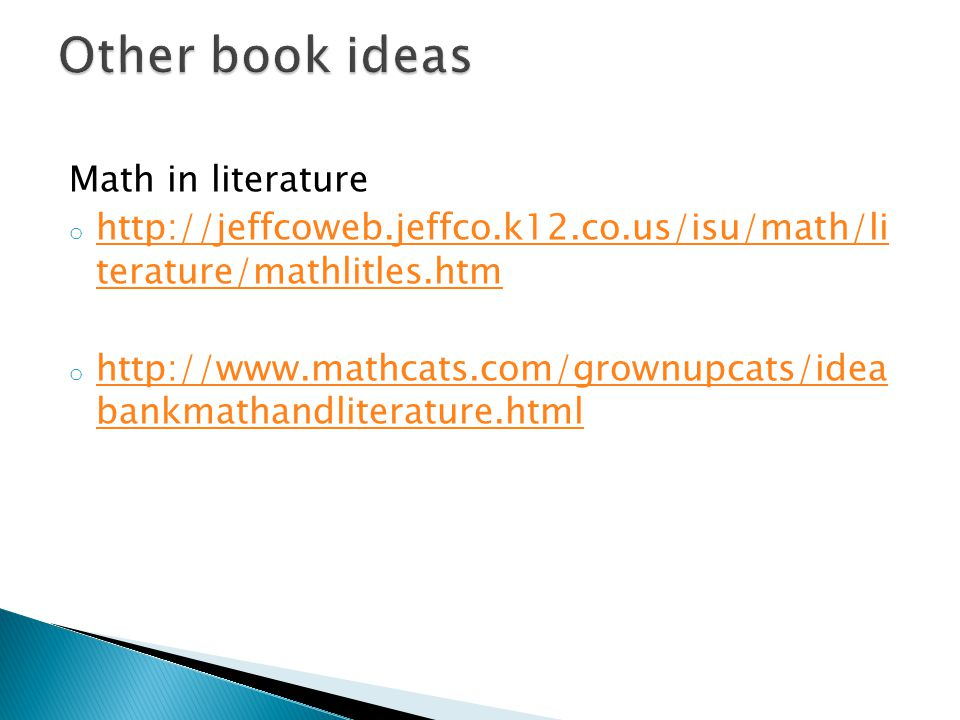 Other book ideas Math in literature