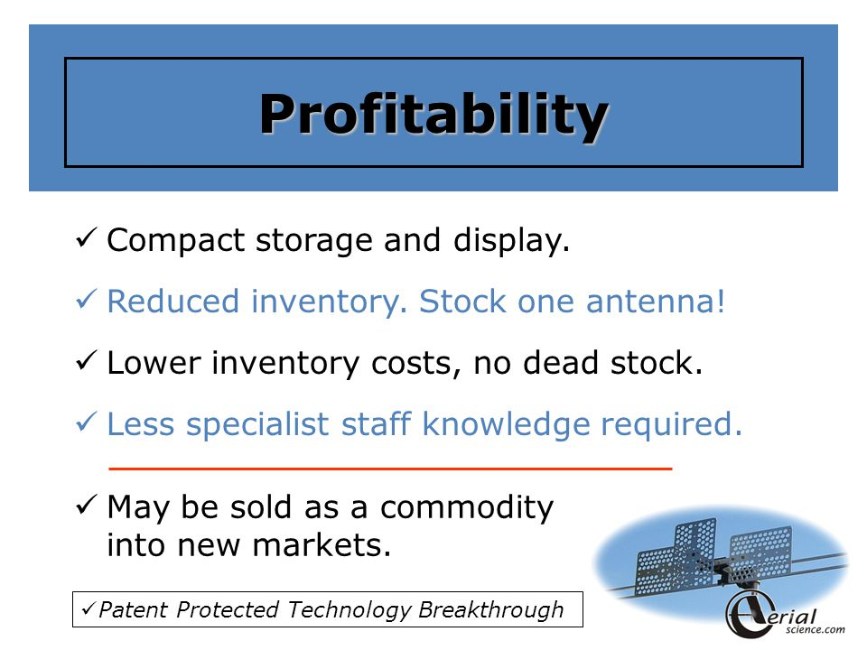 Profitability Compact storage and display.