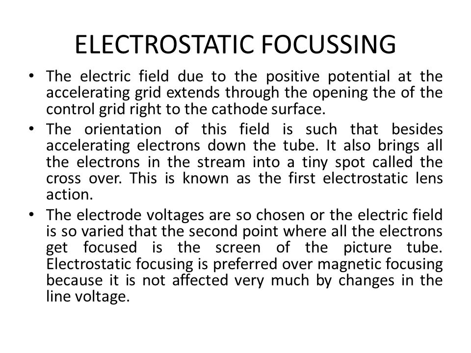 ELECTROSTATIC FOCUSSING