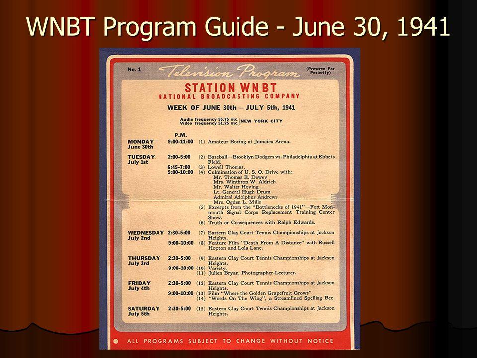 WNBT Program Guide - June 30, 1941