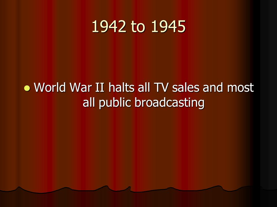 World War II halts all TV sales and most all public broadcasting