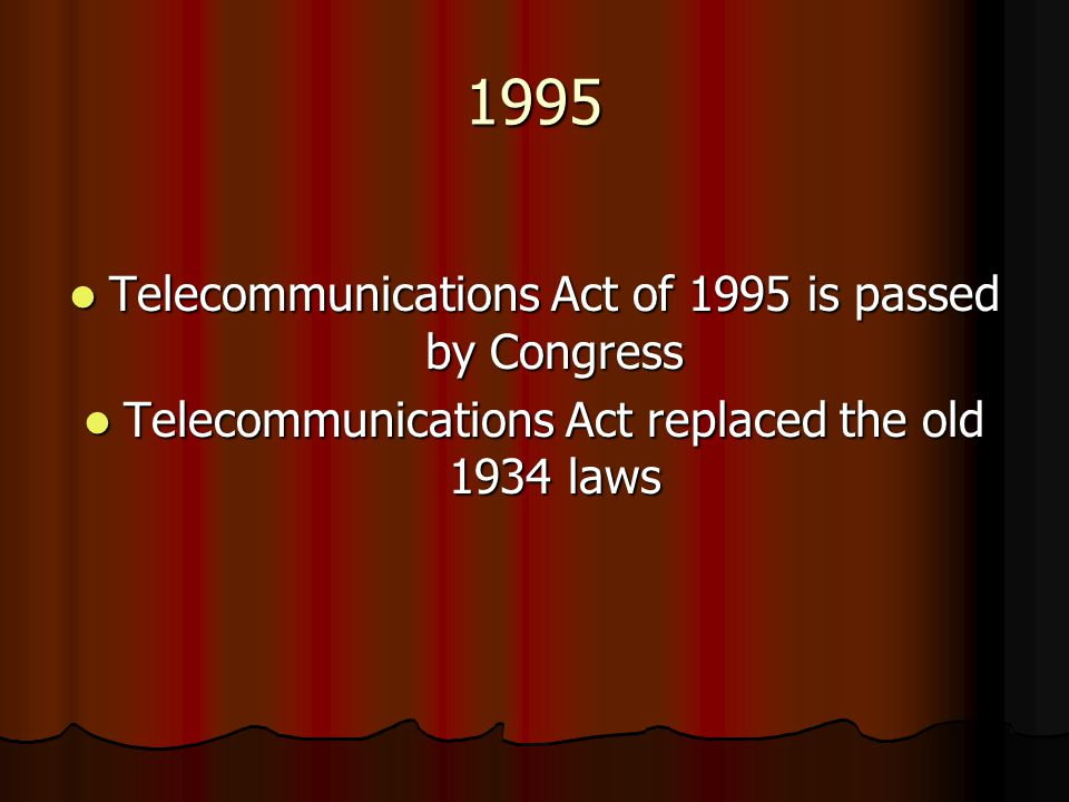 1995 Telecommunications Act of 1995 is passed by Congress