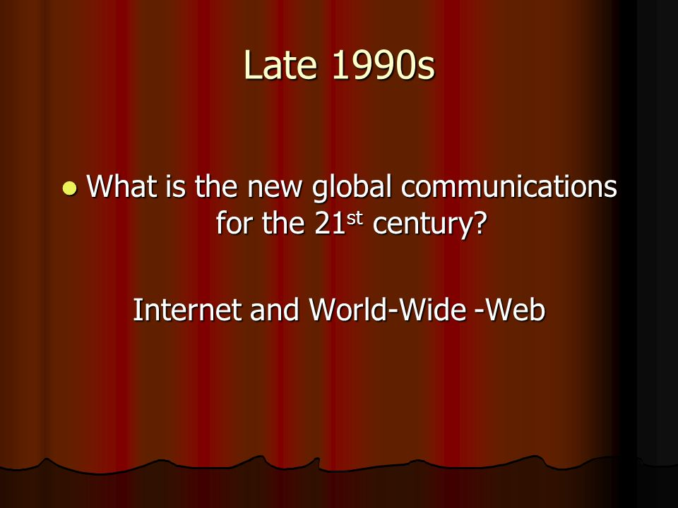 Late 1990s What is the new global communications for the 21st century