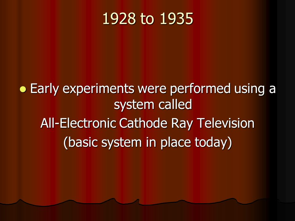 1928 to 1935 Early experiments were performed using a system called