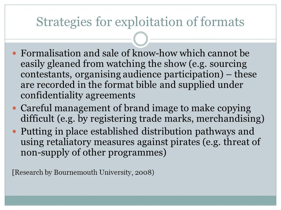 Strategies for exploitation of formats