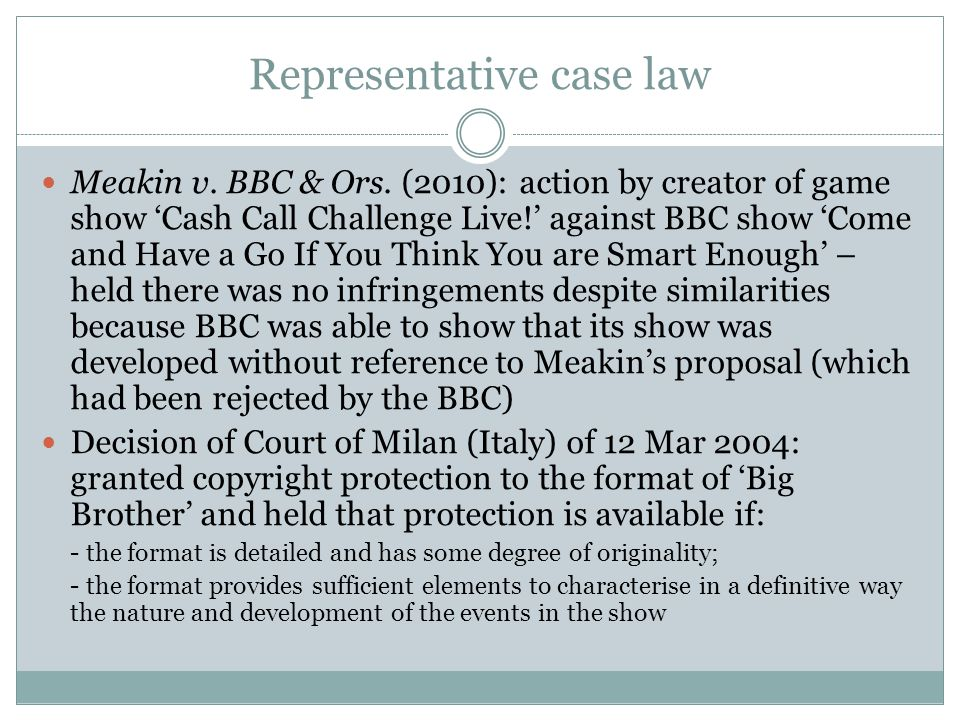 Representative case law