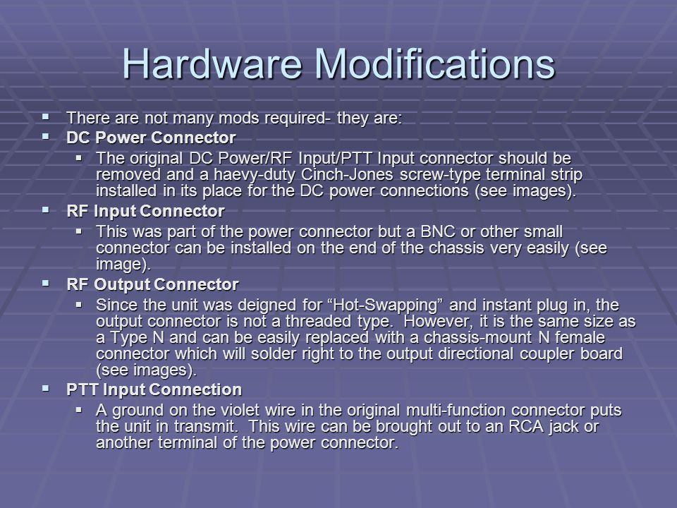 Hardware Modifications