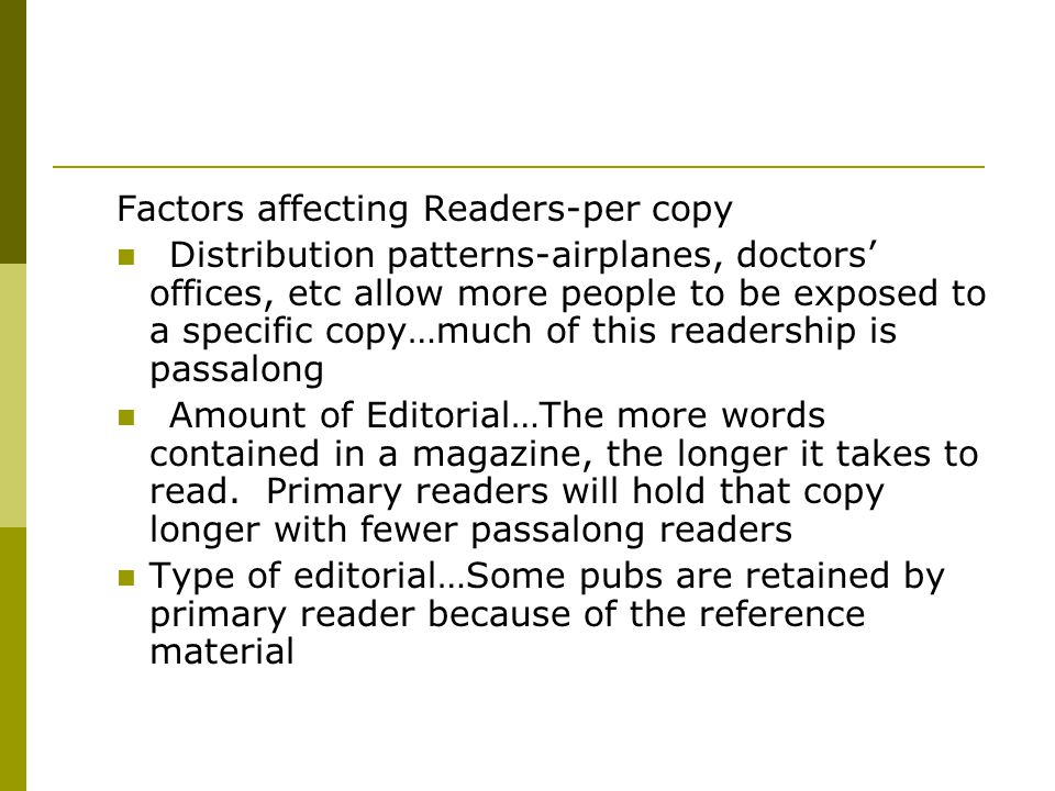 Factors affecting Readers-per copy