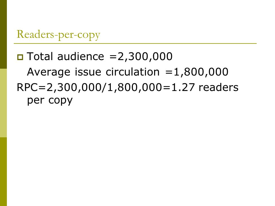 Readers-per-copy Total audience =2,300,000