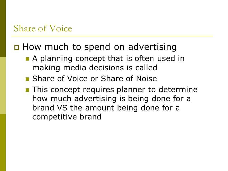 Share of Voice How much to spend on advertising
