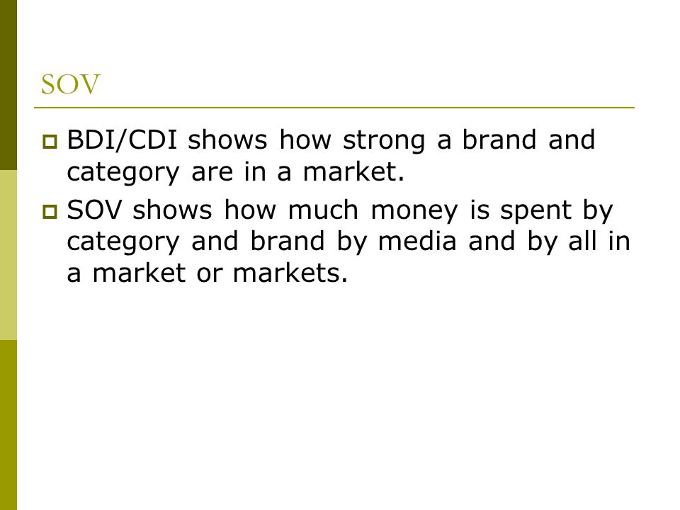 SOV BDI/CDI shows how strong a brand and category are in a market.