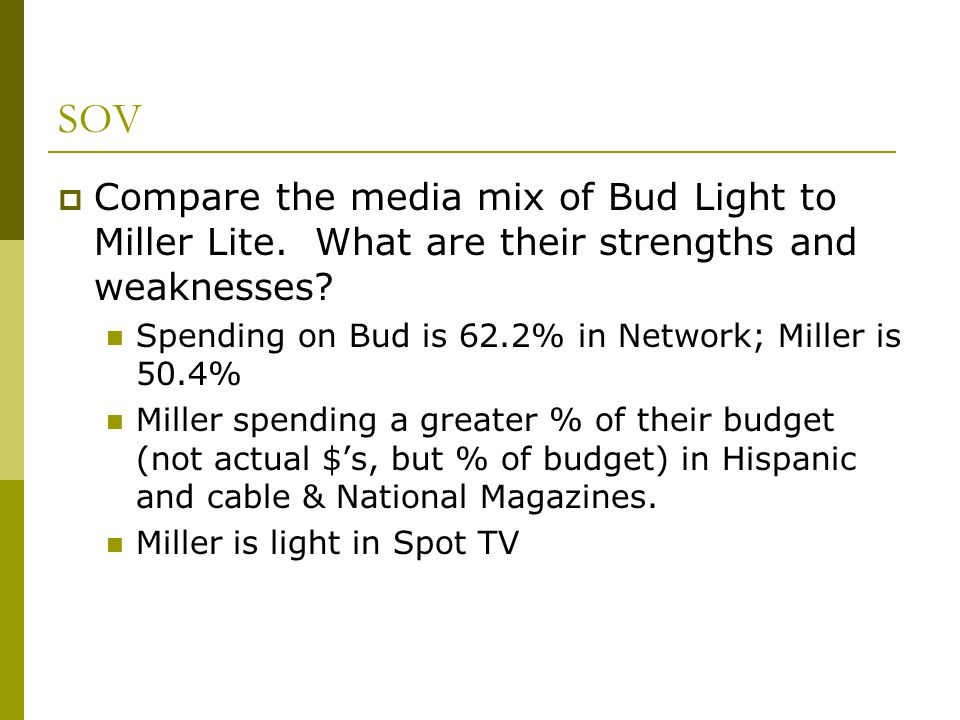 SOV Compare the media mix of Bud Light to Miller Lite. What are their strengths and weaknesses