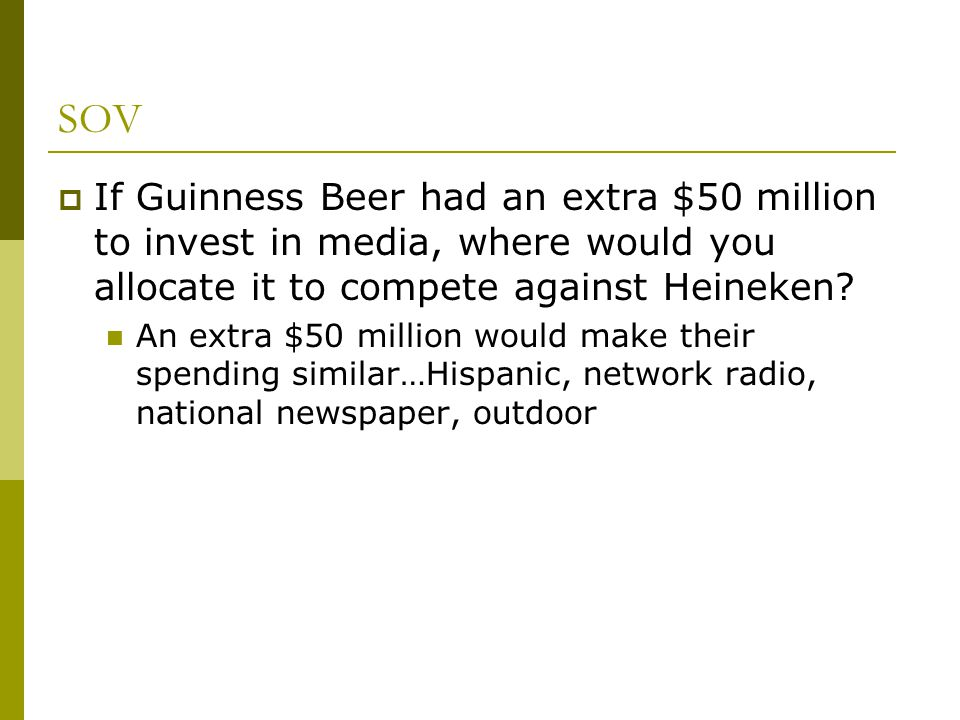 SOV If Guinness Beer had an extra $50 million to invest in media, where would you allocate it to compete against Heineken